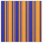 [ Thumbnail: Dark Orange and Dark Blue Colored Striped Pattern Fabric ]