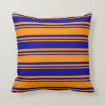 [ Thumbnail: Dark Orange and Dark Blue Colored Striped Pattern Throw Pillow ]