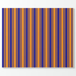 [ Thumbnail: Dark Orange and Dark Blue Colored Striped Pattern Wrapping Paper ]