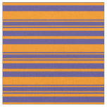 [ Thumbnail: Dark Orange and Dark Slate Blue Lines Fabric ]