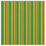 [ Thumbnail: Dark Orange and Green Colored Striped Pattern Fabric ]