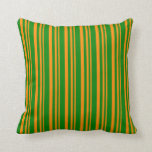 [ Thumbnail: Dark Orange and Green Colored Striped Pattern Throw Pillow ]