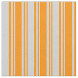 [ Thumbnail: Dark Orange and Light Grey Striped/Lined Pattern Fabric ]