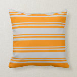 [ Thumbnail: Dark Orange and Light Grey Striped/Lined Pattern Throw Pillow ]
