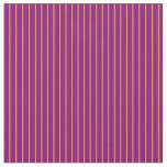[ Thumbnail: Dark Orange and Purple Colored Lined Pattern Fabric ]