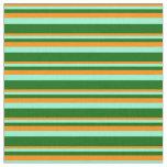 [ Thumbnail: Dark Orange, Aquamarine, and Dark Green Stripes Fabric ]