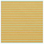 [ Thumbnail: Dark Orange & Aquamarine Colored Stripes Fabric ]