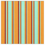 [ Thumbnail: Dark Orange, Aquamarine & Dark Red Lines Pattern Fabric ]