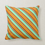 [ Thumbnail: Dark Orange, Aquamarine & Dark Red Lines Pattern Throw Pillow ]