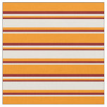 [ Thumbnail: Dark Orange, Beige, and Maroon Pattern Fabric ]