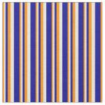 [ Thumbnail: Dark Orange, Beige & Dark Blue Lines Fabric ]