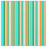 [ Thumbnail: Dark Orange, Beige, Forest Green & Cyan Colored Fabric ]