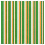 [ Thumbnail: Dark Orange, Beige & Green Striped/Lined Pattern Fabric ]