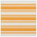 [ Thumbnail: Dark Orange & Beige Lines Pattern Fabric ]