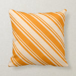 [ Thumbnail: Dark Orange & Bisque Colored Lined Pattern Pillow ]