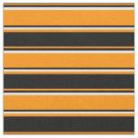 [ Thumbnail: Dark Orange, Black, and White Colored Stripes Fabric ]