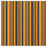 [ Thumbnail: Dark Orange & Black Colored Lined/Striped Pattern Fabric ]