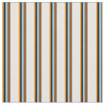 [ Thumbnail: Dark Orange, Black, Sky Blue, Brown & Mint Cream Fabric ]