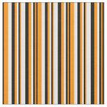 [ Thumbnail: Dark Orange, Black & White Lined/Striped Pattern Fabric ]