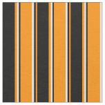 [ Thumbnail: Dark Orange, Black & White Pattern of Stripes Fabric ]