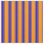 [ Thumbnail: Dark Orange & Blue Lines/Stripes Pattern Fabric ]