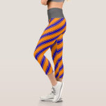[ Thumbnail: Dark Orange & Blue Lines/Stripes Pattern Leggings ]