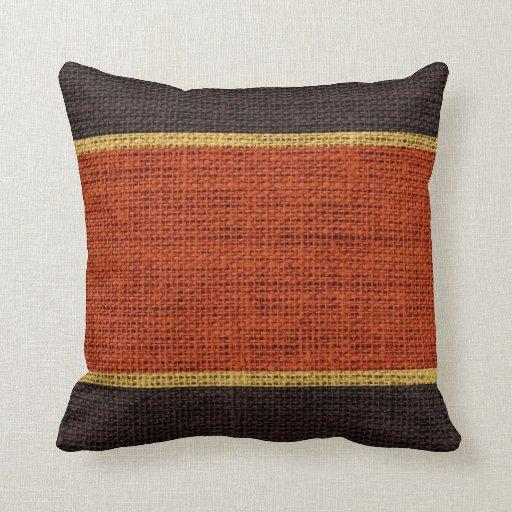 Dark Orange Decorative Pillows : Dark Orange & Brown Rustic Burlap Jute Background Throw Pillow Zazzle
