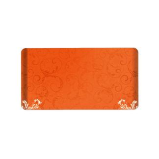 Dark orange damask wedding gift label