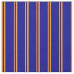 [ Thumbnail: Dark Orange & Dark Blue Colored Lines Fabric ]