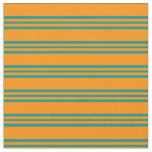 [ Thumbnail: Dark Orange & Dark Cyan Striped/Lined Pattern Fabric ]