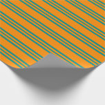 [ Thumbnail: Dark Orange & Dark Cyan Striped/Lined Pattern Wrapping Paper ]