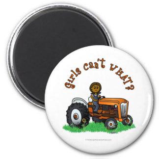 Dark Orange Farmer Girl 2 Inch Round Magnet