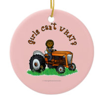 Dark Orange Farmer Girl Ceramic Ornament