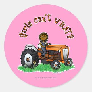Dark Orange Farmer Girl Round Stickers