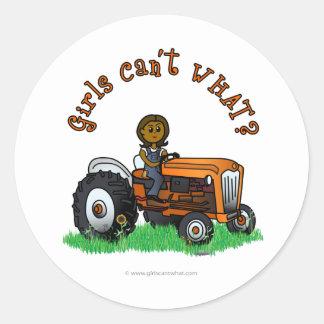Dark Orange Farmer Girl Round Sticker