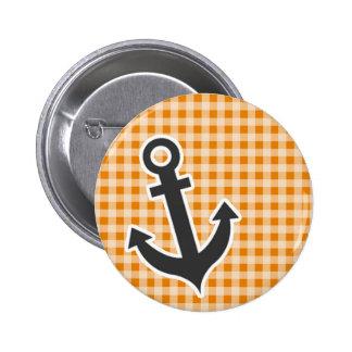 Dark Orange Gingham Anchor Pinback Button