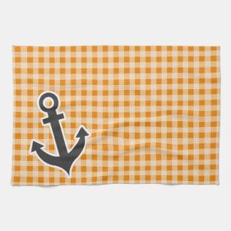 Dark Orange Gingham; Anchor Hand Towel