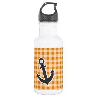 Dark Orange Gingham; Anchor Stainless Steel Water Bottle