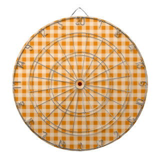 Dark Orange Gingham Dartboard With Darts