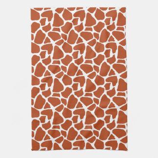Dark Orange Giraffe Pattern Hand Towel