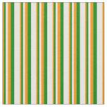 [ Thumbnail: Dark Orange, Green & White Colored Stripes Fabric ]