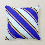 [ Thumbnail: Dark Orange, Grey, Blue, Light Cyan, and Black Throw Pillow ]
