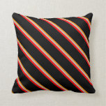 [ Thumbnail: Dark Orange, Grey, Red, and Black Colored Lines Throw Pillow ]