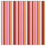 [ Thumbnail: Dark Orange, Hot Pink, Beige & Maroon Stripes Fabric ]