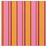 [ Thumbnail: Dark Orange, Hot Pink & Dark Red Lined Pattern Fabric ]