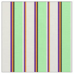 [ Thumbnail: Dark Orange, Indigo, Beige, Green & Black Lines Fabric ]