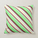 [ Thumbnail: Dark Orange, Indigo, Beige, Green & Black Lines Throw Pillow ]