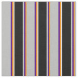 [ Thumbnail: Dark Orange, Indigo, Grey, Black, and White Lines Fabric ]