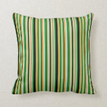 [ Thumbnail: Dark Orange, Lavender, Forest Green, Black & Green Throw Pillow ]
