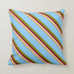 [ Thumbnail: Dark Orange, Lavender, Red, Green & Light Sky Blue Throw Pillow ]